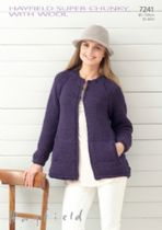 Hayfield Super Chunky with Wool -  7241 Edge to Edge Coat Knitting Pattern